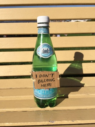 Lost bottle of sparkling water feeling out of place on a bench at San Francisco Maritime National Historical Park. 2:17 PM October 26 2014 by Yoonjin Lee
