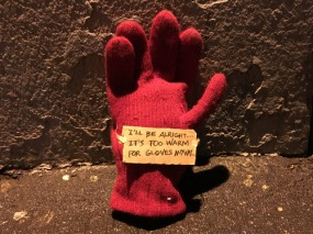 Lost red glove on Mercer Street and W Houston Street. 10:01 PM December 17 2015 by Yoonjin Lee